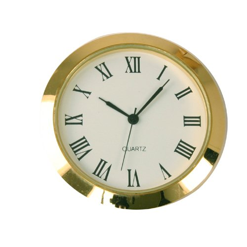 Mini Clock Quartz Movement Insert Round White Dial Gold Tone Bezel Roman Number