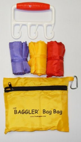 "The Baggler with 3 Reusable Shopping Bags (Red/Red) (1""H x 4.875""W x 4.125""D)"
