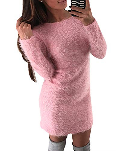 Sematomala Women's Winter/Autumn Long Sleeve Crew Neck Furry Slim Fit Fuzzy Casual Party Club Mini Dress(PI,M) -
