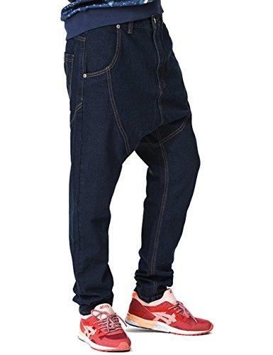 YOLL Men's Denim Sweatpants Sports Jogging Baggy Harem Pa...