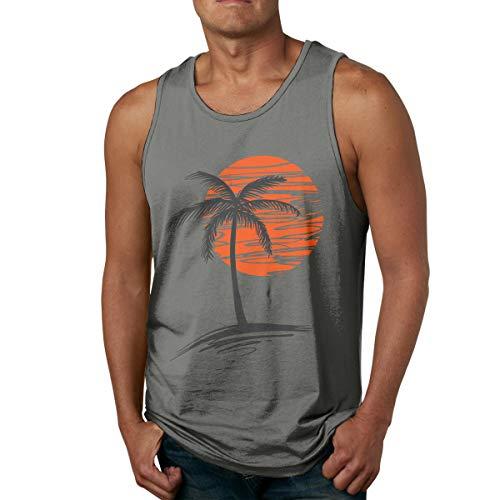 Waldeal Mens Palm Tree Sunset Sleeveless Tanks Tops Cool Fitness Shirt Size M Deep Heather
