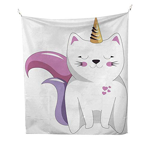 Unicorn Catspace tapestryFictitious Horned Character with Cute Face Expression Girls Kids 54W x 84L inch Wall Hanging tapestryLight Pink Orange Lilac