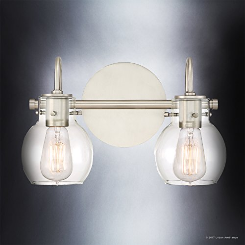 Luxury Vintage Bathroom Light, Medium Size: 9''H x 14''W, with Industrial Style Elements, Floating Glass Design, Aged Nickel Finish and Clear Glass, Includes Edison Bulbs, UQL2040 by Urban Ambiance by Urban Ambiance (Image #3)