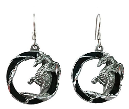 Gothic Dragon Black Circle Dangle Earrings - Surgical Steel