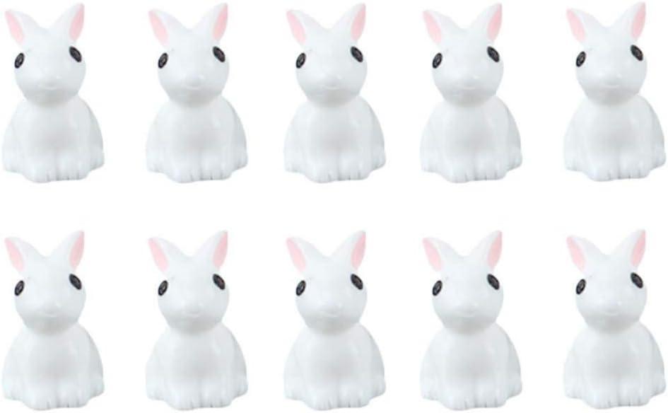 Adarl 10PCS White Rabbit Resin Figurine Craft Plant Pot Fairy Garden Decor Ornament