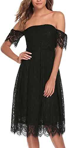 19e32a54851 ANGVNS Women s Floral Lace Off Shoulder Short Sleeve A Line Cocktail Party  Dress