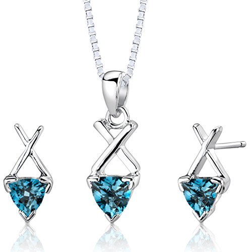 London Blue Topaz Pendant Earrings Necklace Set Sterling Silver Trillion Cut 2.00 ()