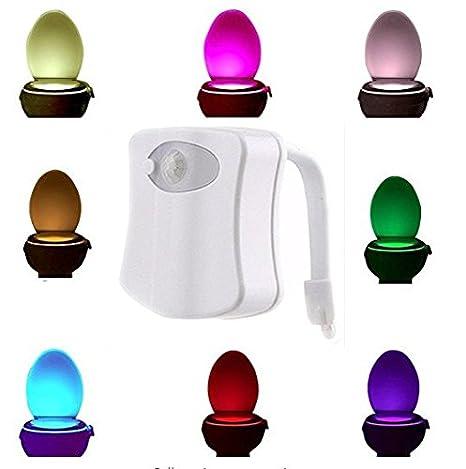 Hemore LED WC Noche luz Sensor de movimiento LED WC luz activada baño luz