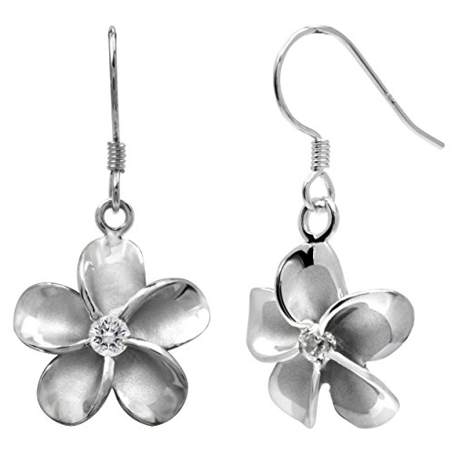 Sterling Silver Plumeria Hook Earrings with CZs, 14mm