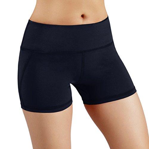 (ODODOS Power Flex Yoga Short Tummy Control Workout Running Athletic Non See-Through Yoga Shorts with Hidden Pocket,Navy,Medium)