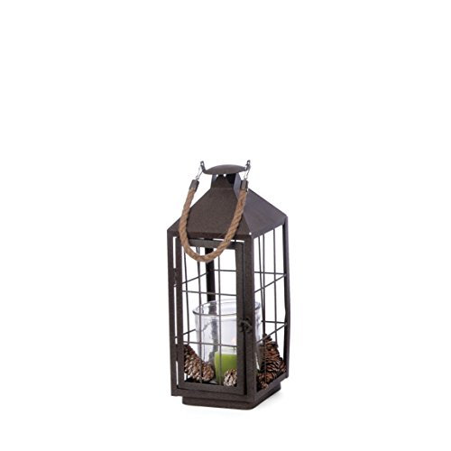 Skalny 84287 Square Metal & Glass Lantern (Pinecone Lantern)