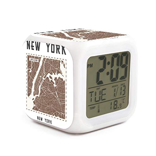 Hotqq New York City Map Art Cute 7 LED Color Change Digital Thermometer Alarm Clock with LCD Display Cube Night Light for Kids