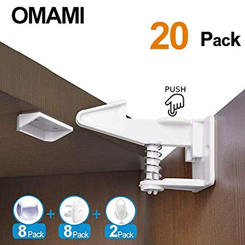 Cabinet Locks Child Safety,20 Packs, Upgradad 2019 Baby Proofing Child Safety Latches, Easy to Install, No Tools or Drilling Needed, Drawer locks child safety