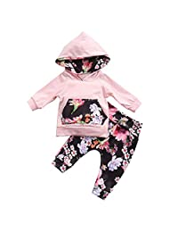 TOBABYFAT Newborn Baby Girl Winter Outfit Set Pink Floral Print Hoodie Top Pant
