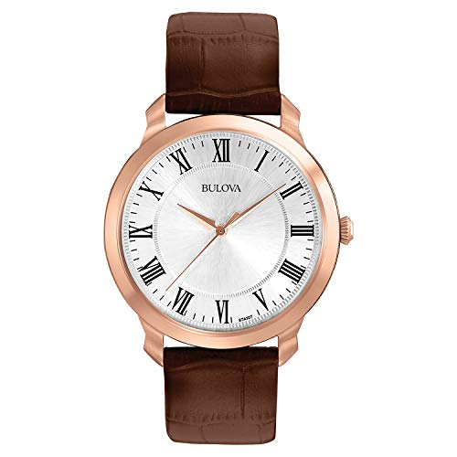 Brown Strap Bulova - Bulova Men's 97A107 Gold-Tone Stainless Steel Watch with Brown Leather Strap