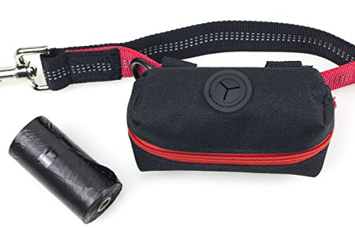 (Primal Pet Gear Dog Poop Bag Holder Black, Leash Attachment Dispenser, 20 Bags Included Roll, Lightweight, Fits Any Dogs Lead, for Easy, Responsible Doggy Walking)