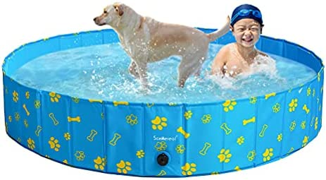 SCENEREAL Swimming Pool for Dogs Kids Toddlers – Large Foldable Pet Pool Bathing Tub with Paw Printing Outdoor Bathtub Collapsible for Small Medium Large Dogs Puppies