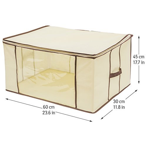 Tatkraft Lancelot Storage Bag Tidy Up Blanket, Clothes, Linen, Beddings, Comforters, Pillows with Transparent Window, Convenient Strong Handle and Durable Zipper 23.6 X 17.7 X 11.8''