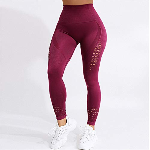Seamless High Waist Yoga Leggings Tights Women Workout Mesh Breathable Fitness Clothing Training Pants Female 5 Color C XL