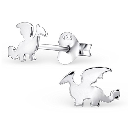 Cute Dragon Silver Small Earrings Girls Post Studs Stering Silver 925 (Sterling Silver)