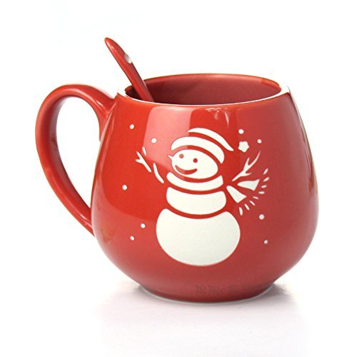 FUBARBAR Creative Christmas Lovely Simple Breakfast Cup Ceramic Cup Mug Lovers Cup Milk Cup Coffee Cup with Spoon (Snowman Red)