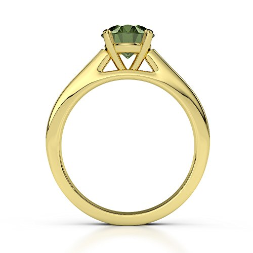 Or jaune 18 carats 1 CT G-H/VS sertie de diamants ronds Cut Tourmaline verte et bague de fiançailles Agdr-1222