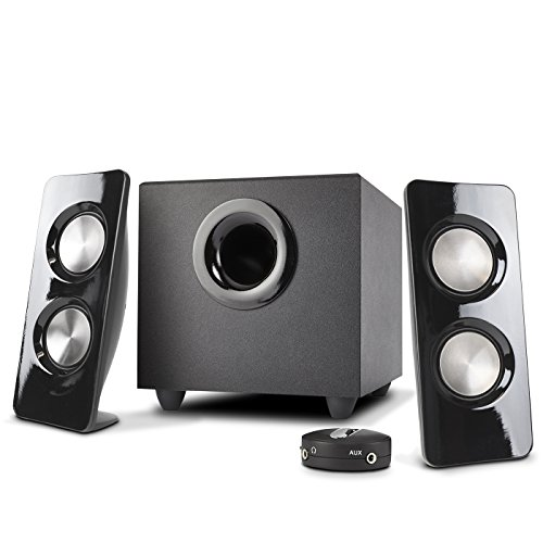 Cyber Acoustics 2.1 Speaker Sound System with Subwoofer and Control Pod - Great for Music, Movies, Multimedia PCs, Macs, Laptops and Gaming Systems (CA-3370A)