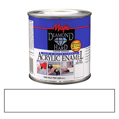 Majic Paints Diamond Hard Acrylic Enamel Satin Paint, 8-Ounce, Satin White ()