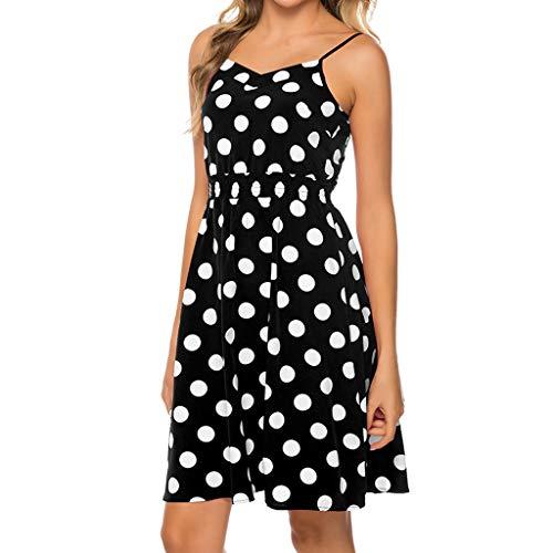 (Women's Summer Polka Dot Gown Sleeveless Spaghetti Strap A-line Dresses Vintage Wrap Tummy Control Kneen Length Dress (Black, XL))