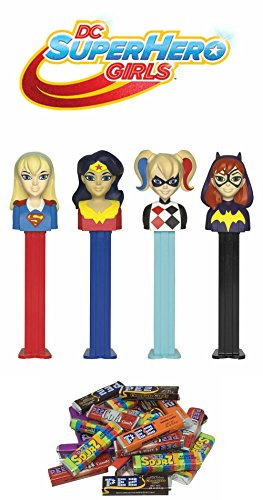 Pez DC Super hero Girls Dispensers and Candy Refill Set: Wonder Woman, Super Girl, Harley Quinn, and BatGirl (4 Dispensers and 24 PEZ CandyRefills)