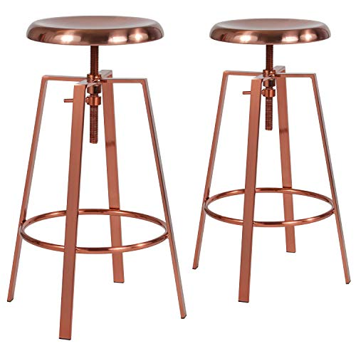 Flash Furniture 2 Pk. Toledo Industrial Style Barstool with Swivel Lift Adjustable Height Seat in Rose Gold ()