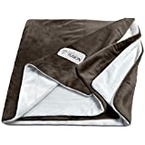 PetFusion [NEW] Premium Pet Blanket. Reversible Gray Micro Plush. [100% soft polyester] (Small (31 x 27), Chocolate)