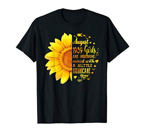 August Girls 1959 Shirt 60th Birthday Sunflower T-Shirt