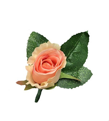 Peach Rose Boutonniere - Angel Isabella Classic Rose Boutonniere with Very Nice Vein Pattern Printed Leaf. Pin Included (Peach)