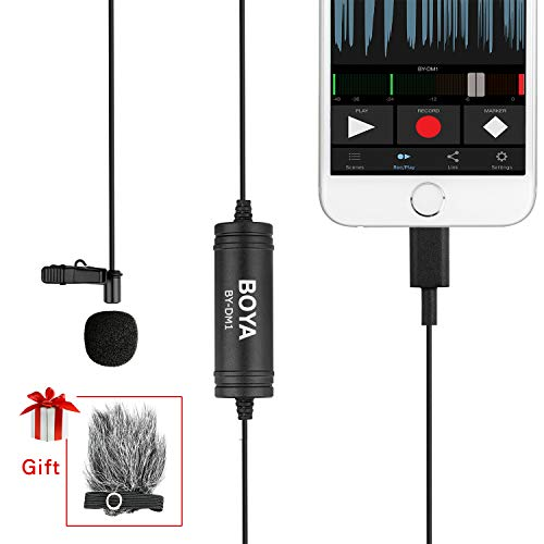 (BOYA DM1 Lavalier Microphone Lapel Clip on Mic with Lightning Connector Compatible with iOS iPhone X 8 7 6 Plus iPad iPod Nano Touch Using for YouTube, Interview, Podcast, Speech, Conference, Vlog)