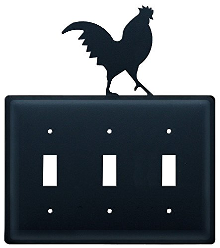 Village Wrought Iron 8 Inch Rooster Triple Switch Cover (Switchplate Rooster)