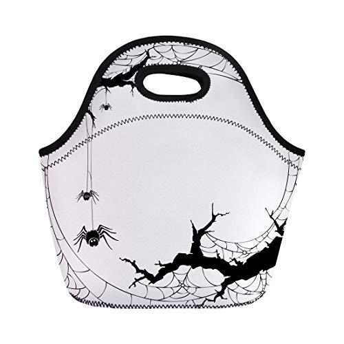 Semtomn Neoprene Lunch Tote Bag Spiderweb Halloween Silhouette