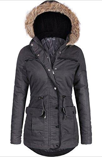 BodiLove Women's Mid Length Down Cotton Puffer Jacket with Faux fur trim Hood Dark Grey XL