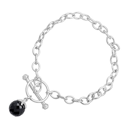 6 ct Natural Onyx Toggle Link Bracelet with Diamonds in Sterling Silver