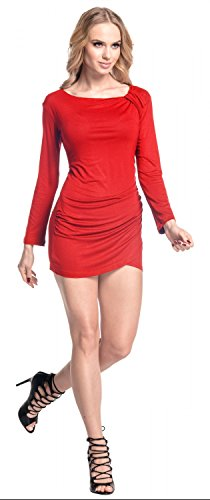 Glamour Empire. De Las Mujeres Asimétrico Cortinas Mini Vestido Linea Larga Túnica Parte Superior. 941 Rojo