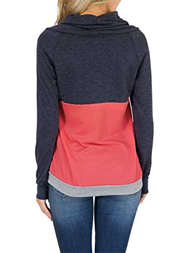 HOTAPEI Ladies Sweatshirts Autumn Casual Pullover Tops Tee Shirts Color Block Long Sleeve Cowl Neck Sweatshirts for Women Cute with Pockets XL by HOTAPEI (Image #2)
