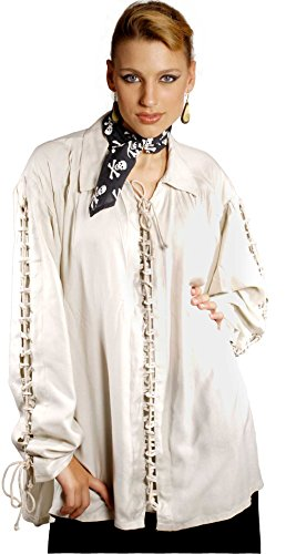 Medieval Poet's Pirate Patrickson Shirt Costume [Natural] (Small/Medium)