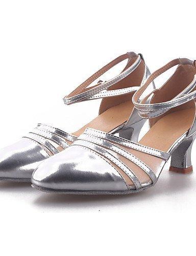 ShangYi Non Customizable Women's Dance Shoes Modern Leatherette/Paillette/Synthetic Cuban Heel Black/Silver/Gold Silver IpPHQ