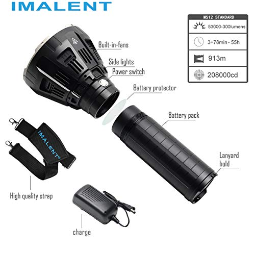 IMALENT MS12 Brightest Flashlight 53000 Lumens, Super Bright Rechargeable Torch Searchlight with 12 Pieces CREE XHP70 LEDs, Built in Cooling Fan, Long Beam Distance 913 Meters by IMALENT (Image #2)