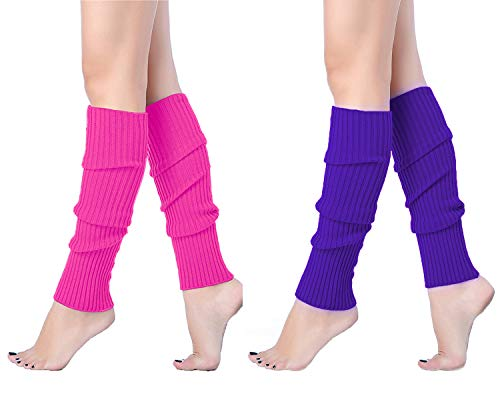 V28 Women Juniors 80s Eighty's Ribbed Leg Warmers for Party Sports (One Size, ()