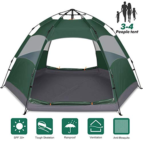 Amagoing Camping Tent, 3-4 Person Instant Pop Up Family Tent Double Layer Waterproof 4 Season Backpacking Tent for Picnic Hiking Fishing Traveling