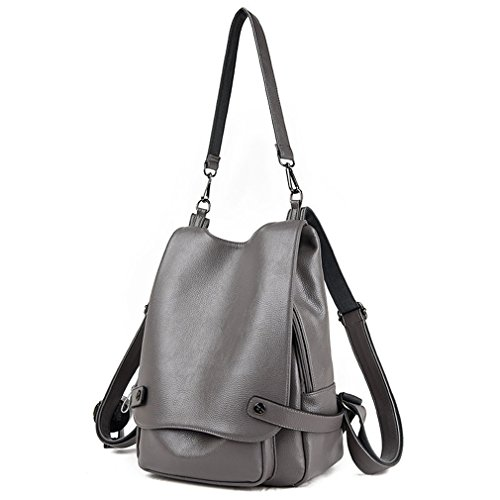 77a438211b Womens   Girls Casual Leather Backpack Purse Satchel Shoulder School Bags  for College (Grey)