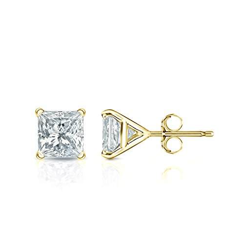 Pc100 Natural - 14k Yellow Gold Princess-cut Diamond Stud Earrings 4-Prong Martini(1 ct,Excellent Quality)