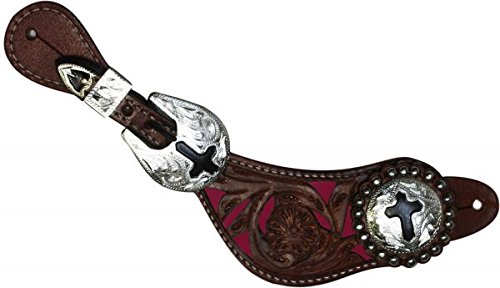 (Showman Ladies Spur Straps with Pink Floral Filigree Tooled Overlay and Colored Background antiqued cross on engraved silver buckle and conchos (Dark Oil))