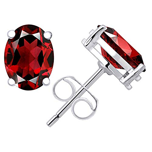 (Women & Girls Shape Garnet Gemstone Stud Earrings, January Birthstone, Sterling Silver, Jewelry Gift Idea, Perfect For Birthday, Anniversary, Wedding, Mother Day (8x6 MM, 2.97 Cttw))